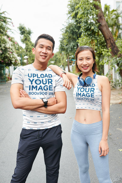 T-Shirt and Crop Top Mockup of an Athletic Couple of Runners M8350-r-el2
