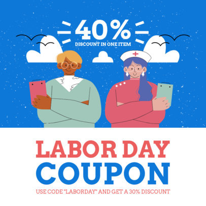 Illustrated Instagram Post Creator for a Labor Day Sale Coupon 4315f-el1