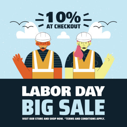 Instagram Post Generator for a Labor Day Sale with Illustrations 4315c-el1
