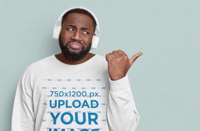 Mockup Featuring a Man With Headphones Wearing a Sweatshirt m3564-r-el2