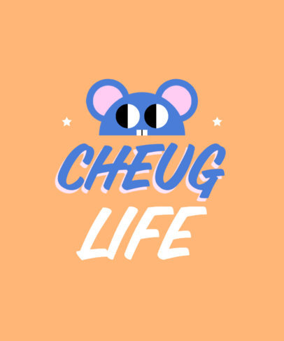 T-Shirt Design Creator with a Cheugy Quote and a Cute Character 3999b