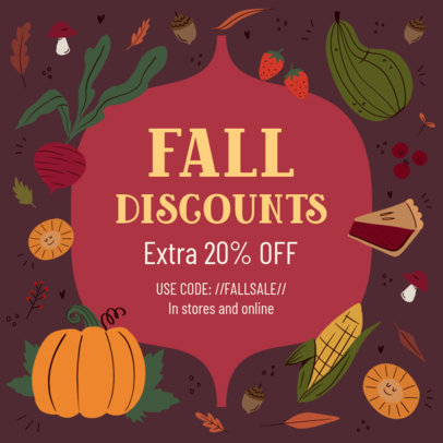 Illustrated Instagram Post Design Generator Featuring Fall Discounts 3993e