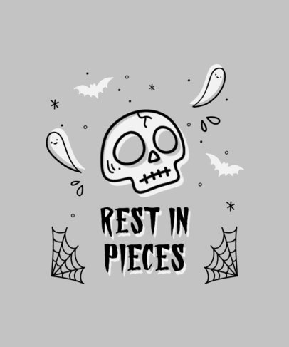T-Shirt Design Template for Halloween Enthusiasts Featuring a Skull Graphic 4357b-el1
