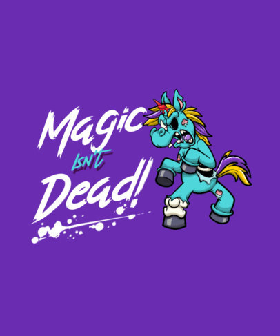 T-Shirt Design Template with a Fun Graphic of a Zombie Unicorn 4347d-el1