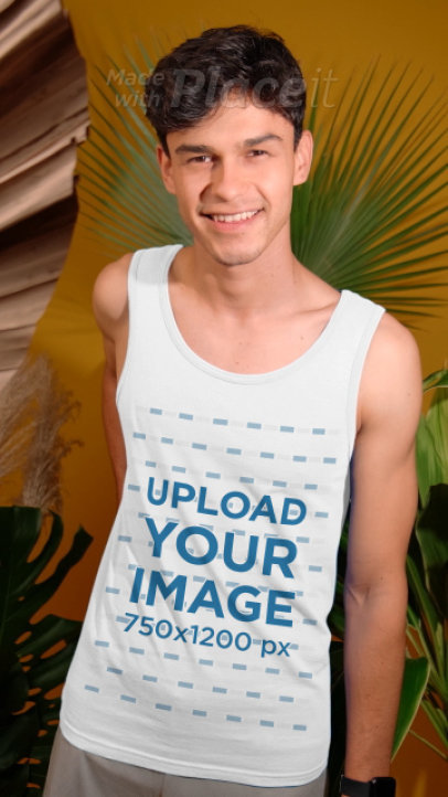 Tank Top Video Featuring a Happy Young Man at a Studio 3889v