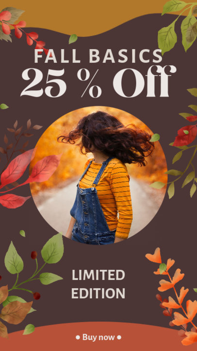 Instagram Story Maker for Fashion Deals Featuring Fall-Themed Graphics 3992h