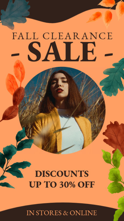 Instagram Story Template to Announce an Autumn Clearance Sale 3992i