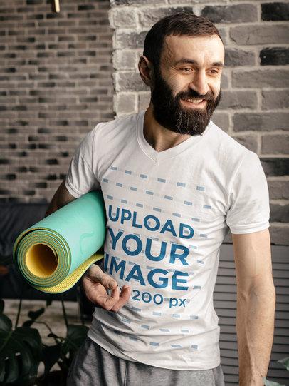 V-Neck Tee Mockup of a Bearded Man Ready for Yoga Class m12478-r-el2