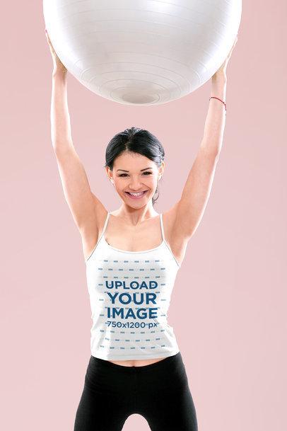 Spaghetti Strap Tank Top Mockup of a Woman Holding a Yoga Ball M13047-r-el2