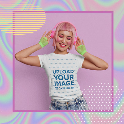 Retro Mockup Featuring a Young Woman Wearing a T-Shirt m15432-r-el2