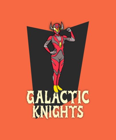 Fun T-Shirt Design Template Inspired by Tokusatsu Shows 4621