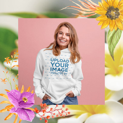 Pullover Hoodie Mockup of a Smiling Woman Featuring a Frame with Flowers M15436-r-el2