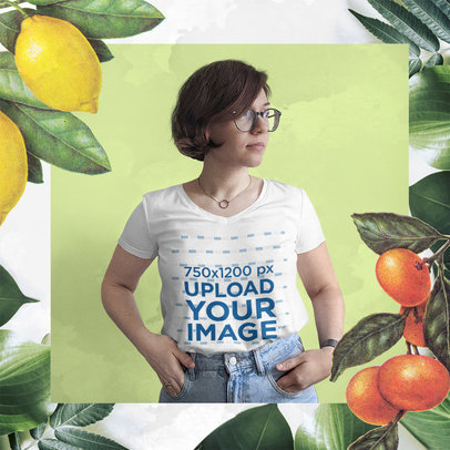 V-Neck T-Shirt Mockup Featuring a Woman Surrounded by Botanical Graphics m15444-r-el2