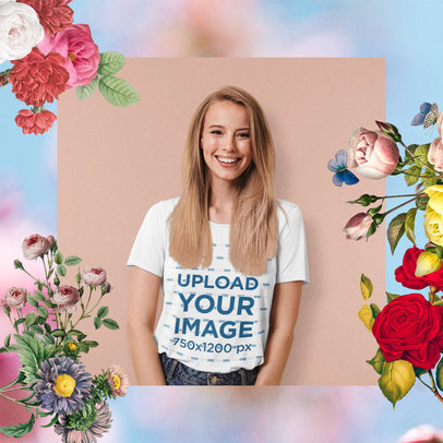 T-Shirt Mockup Featuring a Woman and Floral Ornaments M15437-r-el2
