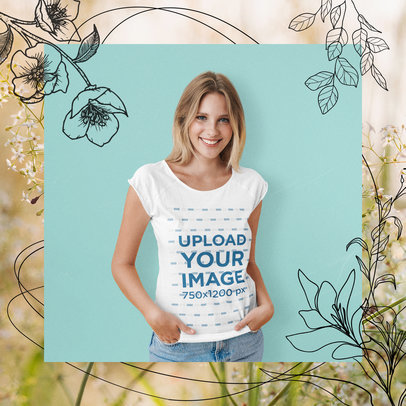Mockup of a Woman Wearing a T-Shirt Featuring Floral Ornaments M15648-r-el2