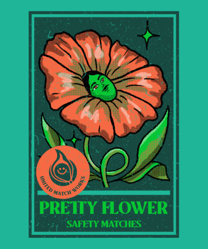 T-Shirt Design Creator With a Vintage Illustration of a Flower 4012e