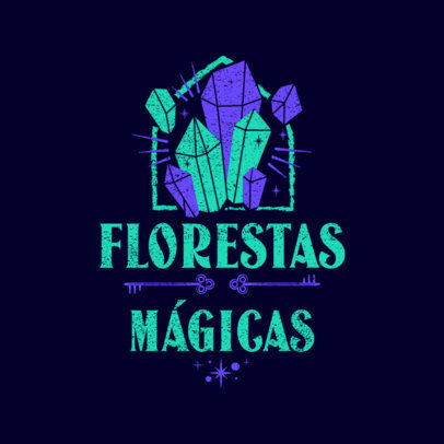RPG Logo Template with a Graphic of Magic Crystals 4623A