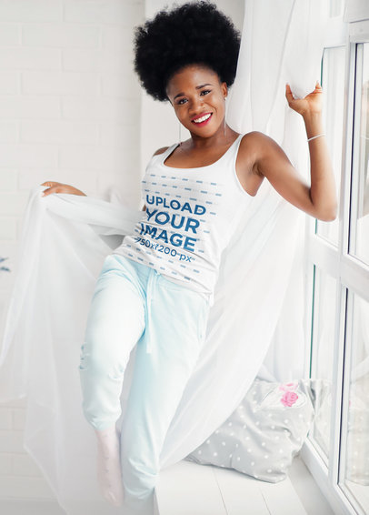 Tank Top Mockup of a Woman Having Fun With Her Bedroom Curtains m7218-r-el2