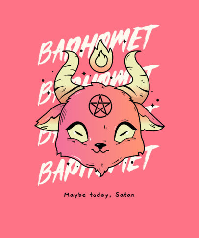 T-Shirt Design Creator Featuring a Cute Illustration of Baphomet 4366b