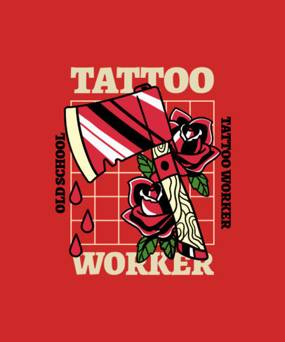 T-Shirt Design Template  With a Classic Tattoo Style and a Bloody Axe Clipart 4020e