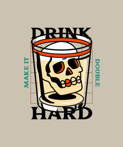 Illustrated T-Shirt Design Generator Featuring a Skull Inside a Glass 4020f