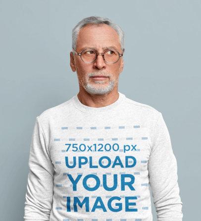 Crewneck Sweatshirt Mockup Featuring a Senior Man in a Studio m3650-r-el2