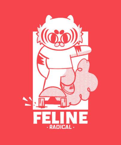 Cartoonish T-Shirt Design Maker with a Skater Cat Graphic 4368e
