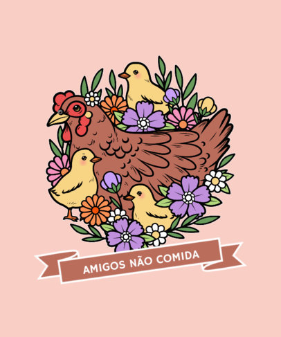 T-Shirt Design Generator Featuring an Illustrated Hen and Chickens 4016c