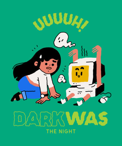T-Shirt Design Maker Featuring a Quote About a Spooky Computer 4019f