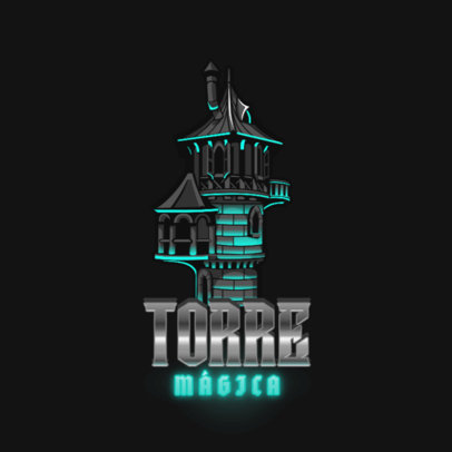 Logo Template for an RPG Featuring a Magic Tower Illustration 4624a