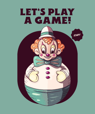 Horror T-Shirt Design Template with a Vintage Inflatable Clown 4028d