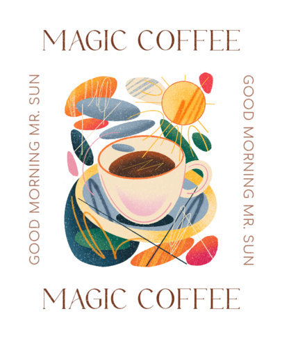 T-Shirt Design Maker for Coffee Enthusiasts Featuring Colorful Graphics 4616e