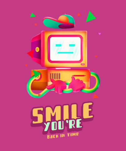 T-Shirt Design Generator with a Retro Computer Character 4013c