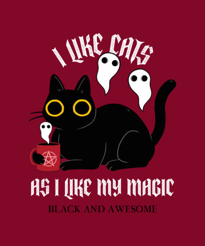 Illustrated T-Shirt Design Template Featuring Funny Cats with Magic Objects 4044