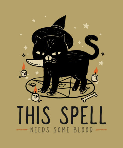 T-Shirt Design Template with Adorable Illustrations of Bewitching Cats 4046