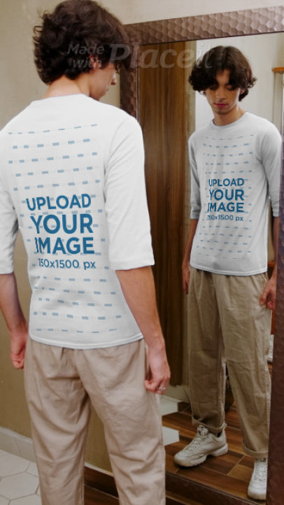 Both Sides 3/4 Sleeve Tee Video Featuring a Young Man in Front of a Mirror 3994v