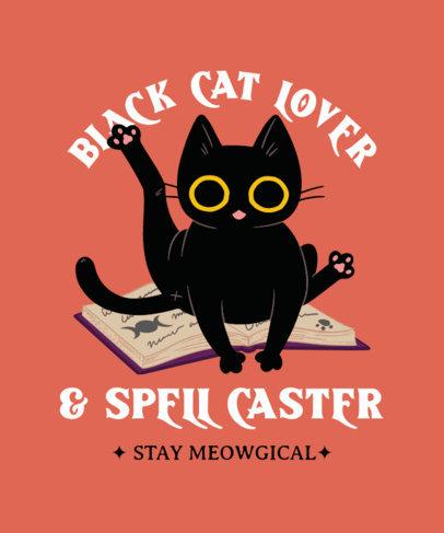 T-Shirt Design Maker of a Black Cat on a Magic Spells Book 4044b