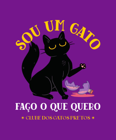 Funny T-Shirt Design Creator Featuring a Naughty Cat Illustration 4044d