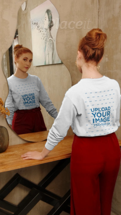 Sweatshirt Video of a Woman in an Elegant Room 4039v