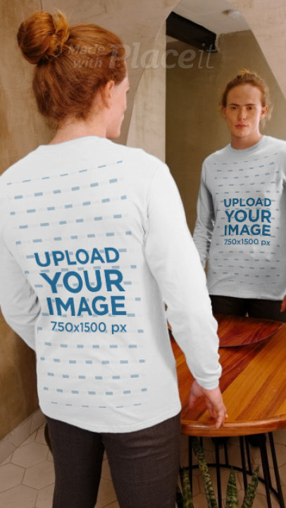 Video of a Man in a Long Sleeve Tee Posing by a Mirror 3992v