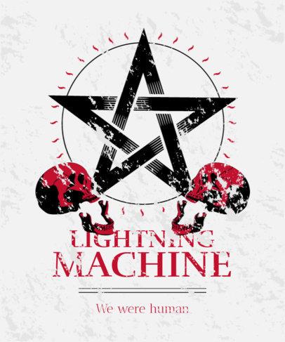 T-Shirt Design Template Featuring a Satanic Pentagram and Skulls 4041a