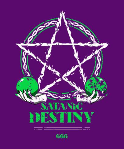 Black Metal-Inspired T-Shirt Design Maker Featuring a Pentagram 4041b