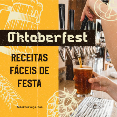 Instagram Post Design Template Featuring an Oktoberfest Theme and Portuguese Text 4049a