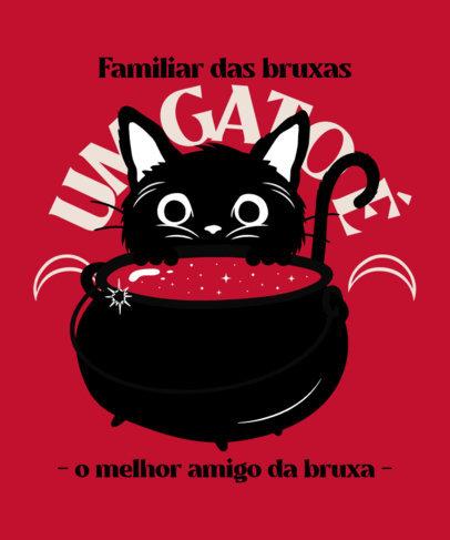 T-Shirt Design Creator a Cute Cat and a Magical Cauldron Illustration 4045g