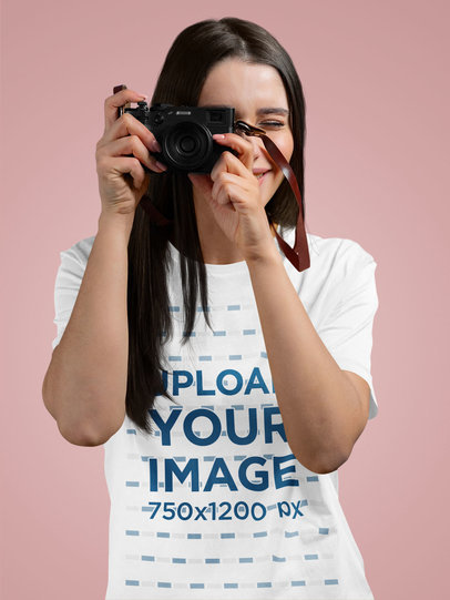 T-Shirt Mockup Featuring a Happy Woman Taking a Picture 12741-r-el2