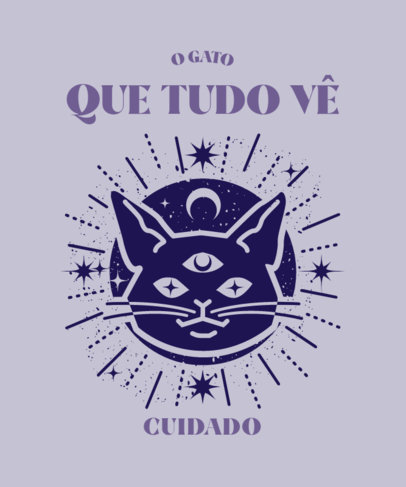 Cat-Themed T-Shirt Design Template with a Mystic Vibe 4042d