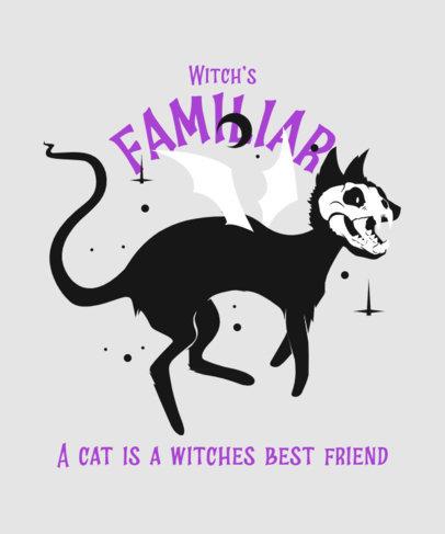 Halloween T-Shirt Design Maker Featuring a Flying Black Cat Clipart 4045h