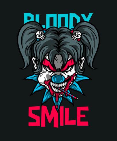 Horror T-Shirt Design Maker Featuring an Evil Clown Girl 4636a