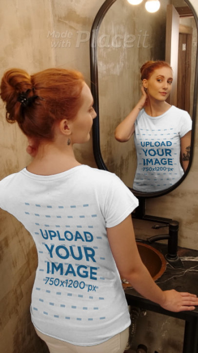 T-Shirt Video of a Woman Looking at Herself in a Mirror 4042v