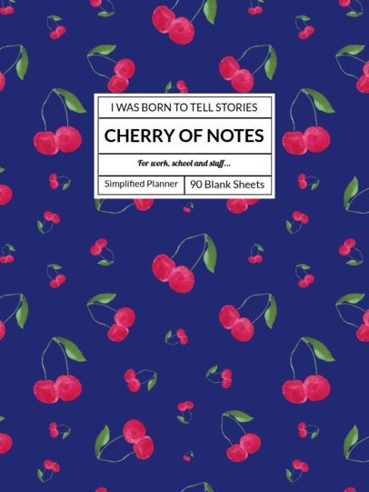 Notebook Cover Template Featuring Fruit Patterns 4396-el1